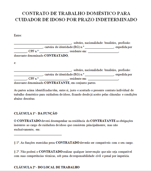Contrato De Cuidador De Idoso Modelo Em Word E Pdf Download